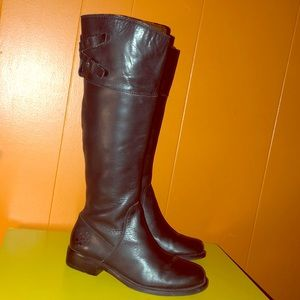 Vince Camuto Keaton Black Leather Riding Boots